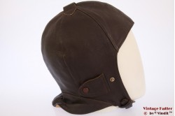 Aviator cap dark redish brown leather 57