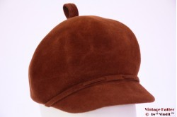 Balloon-type ladies hat orange-brown velor 56