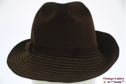 Ladies fedora Wegener brown with stitchings 55
