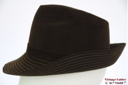 Ladies fedora Wegener brown with stitchings 55