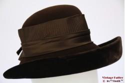 Ladies hat brown wide with velvet base 55