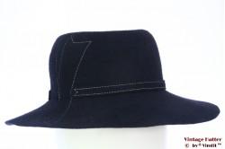 Ladies hat dark blue fur felt with white stitchings 55,5