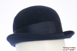 Cloche hat dark blue velvet 55