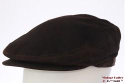 Platte pet Luckat King Cap donker bruin suede 58