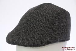 Flatcap pre-shaped grey herringbone 60