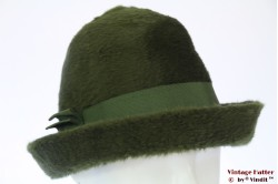 Cloche hat La Familiare dark green fur felt 53-54 (XS)
