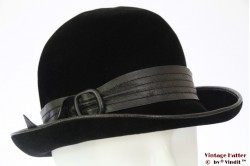 Cloche black velour with leather band 54 (XS)