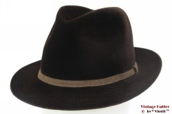 Fedora Wegener dark brown velour with embroidery 55 (S)
