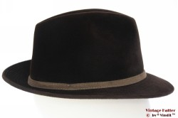 Fedora Wegener dark brown velour with embroidery 55 (S)