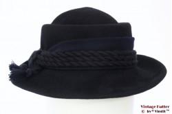 Ladies hunting hat black and blue felt 55 (S)