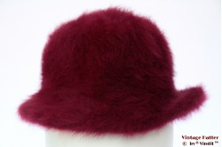 Ladies hat soft flexible burgundy urple fur felt 55 (S)