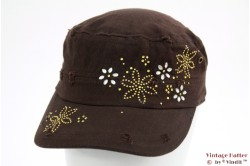 Armycap Clockhouse brown 'rough look' with strass 56-58 [new]