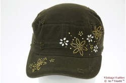 Armycap Clockhouse green 'rough look' with strass 56-58 [new]