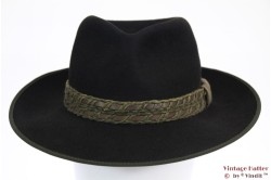 Outdoor hat black with roped in leather straps 56
