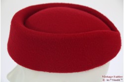 Stewardess pillbox hat dark red 54-59 [new]