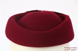Pillbox hat burgundy with bow 55